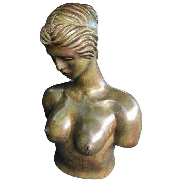 1940s Art Nouveau John Destefano Female Bronze Nude Sculpture For Sale