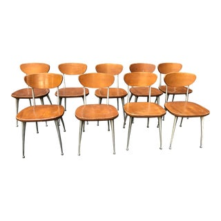 1950s Vintage Shelby Williams Gazelle Chairs - Set of 9 For Sale