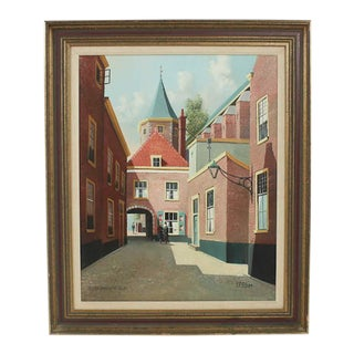 """Early 20th Century George Jan Dispo """"Steegje Princenof Delft"""" Oil on Canvas Painting For Sale"""