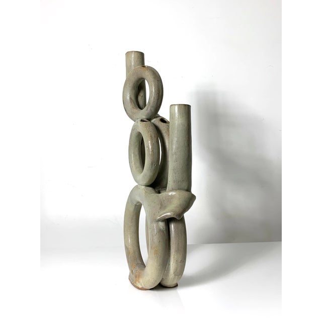 Mid-Century Modern 1970s Vintage Tubular Studio Pottery Signed Vase For Sale - Image 3 of 11