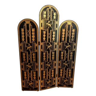 Early 20th Century Art Deco 3-Panel Wood Screen Room Divider Ebonized Parcel Gilt For Sale
