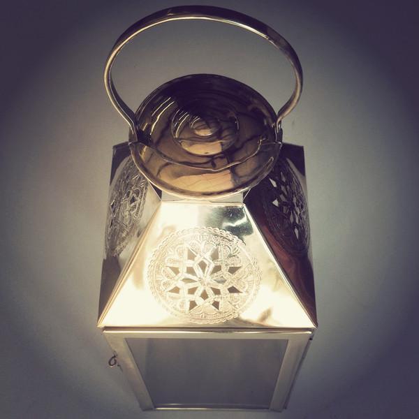 Star Moroccan Square Brass Lantern - Image 3 of 3