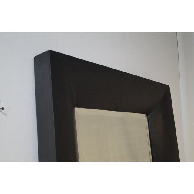Rectangular Beveled Mirror with Faux Leather Frame For Sale - Image 5 of 10