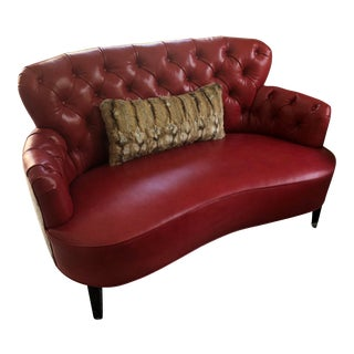 Antique Lipstick Red Leather Tufted Sofa Settee For Sale