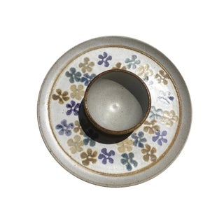 70's Floral Pottery Chip & Dip Plate