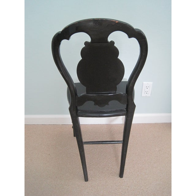 Black Mid 19th C. Victorian Mother of Pearl Inlay Papier Mache Chair For Sale - Image 8 of 11