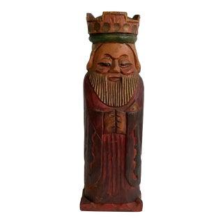 Vintage Carved Wood King Wine Bottle Holder For Sale