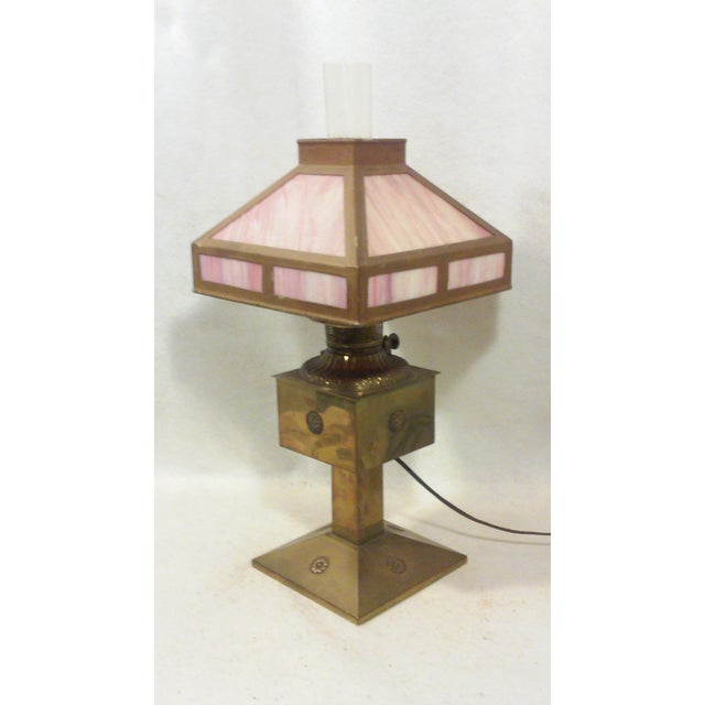 Antique Style Brass and Pink Slag Glass Lamp For Sale - Image 11 of 11