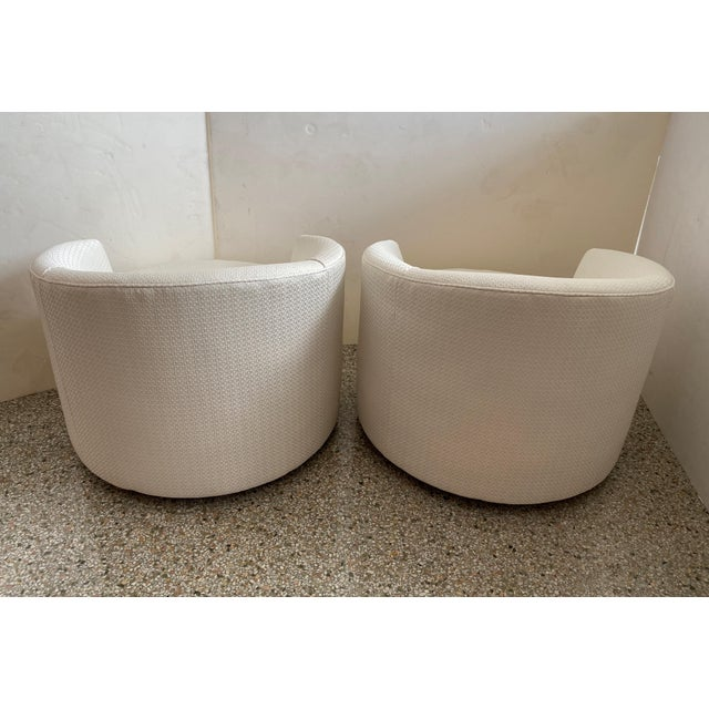 1970s Vintage Swivel Club Chairs - a Pair For Sale - Image 5 of 12