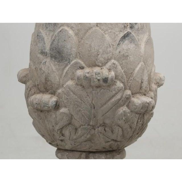Artichoke Faux Stone Lamps - a Pair For Sale - Image 9 of 11
