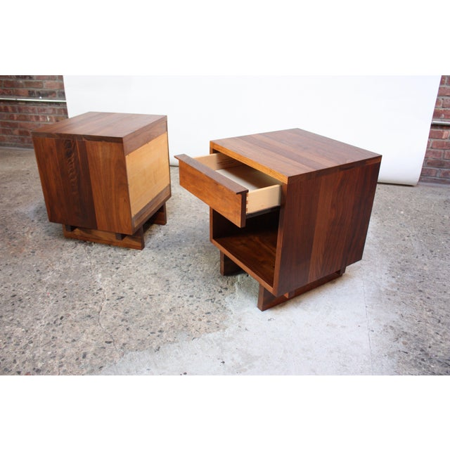 Brown Pair of Vintage New England Solid Walnut Nightstands For Sale - Image 8 of 13