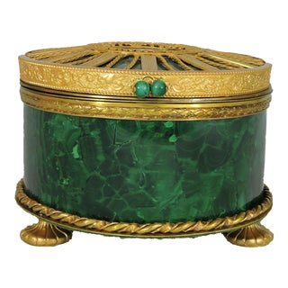 Antique Malachite Box With Gilded Bronze Accents For Sale