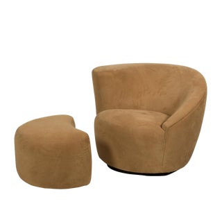 "Vladimir Kagan Nautilus ""Corkscrew"" Swivel Club Chair and Ottoman For Sale"
