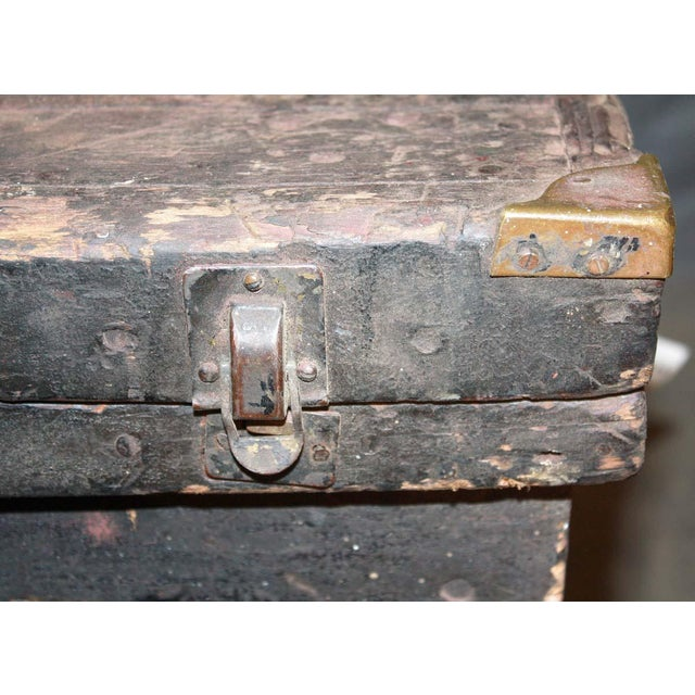 Early 20th Century Antique 34.25 In. Distressed Wooden Black Trunk on Wheels For Sale - Image 5 of 9