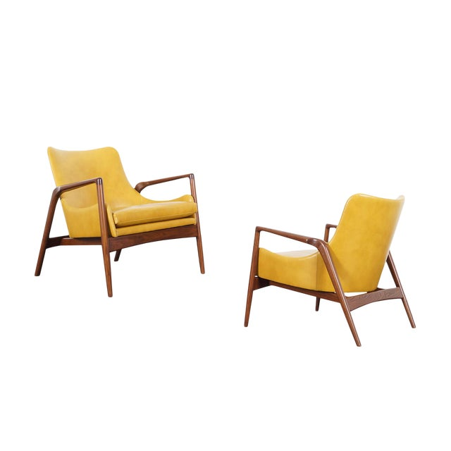 Danish Modern Leather Lounge Chairs by Ib Kofod Larsen For Sale