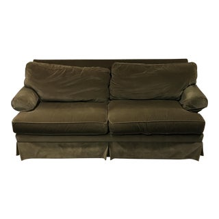 Ethan Allen Green Upholstered Sofa For Sale