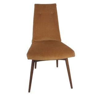 Mid-Century Orange Velvet Accent Chair For Sale