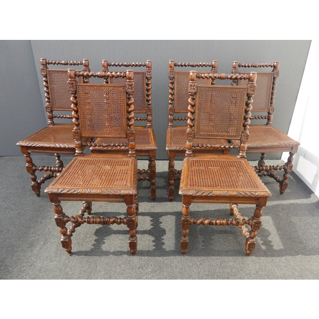Brown Spanish Style Barley Twist Cane Dining Room Chairs - Set of 6 ...