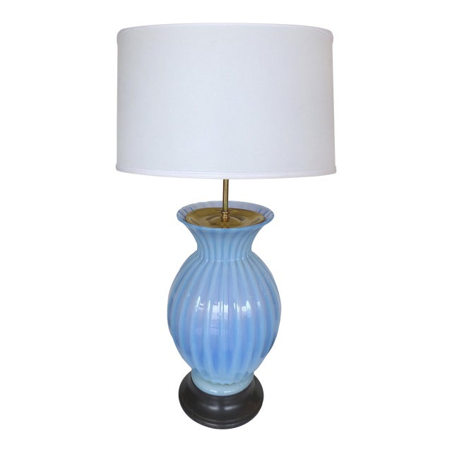 Blue Murano Glass Table Lamp by Marbro For Sale