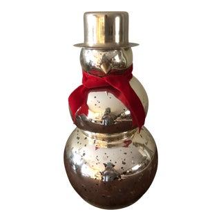 Vintage Holiday Mercury Glass Snowman Figurine For Sale