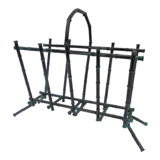 Hollywood Regency Bronzed Faux Bamboo Magizine Rack For Sale