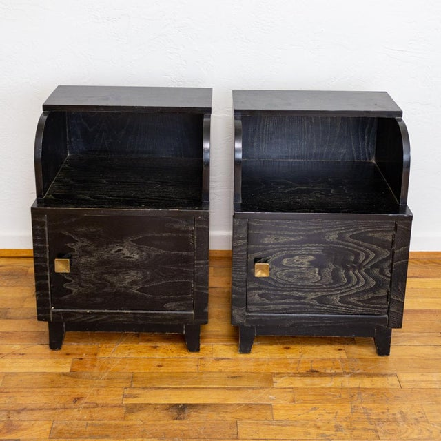 Brass Mid Century Nightstands | Black and Brass | Huntley Furniture For Sale - Image 7 of 13
