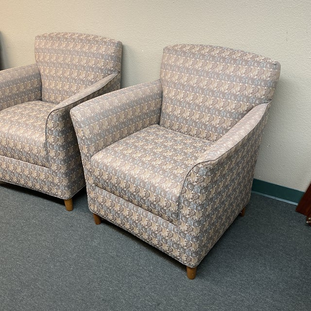 Design Plus Gallery presents a Pair of Bernhardt Contemporary Accent Chairs. Fixed seat and back chairs have a firm...