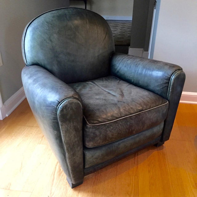 Traditional Dark Green Leather Club Chairs and Ottoman by Grange - Set of 3 For Sale - Image 3 of 13