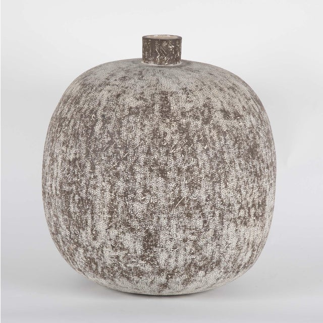 """A large stoneware vessel by Claude Conover (American 1907-1994) titled """"Balakmul"""". Signed on underside. 18"""" h x 15"""" diameter."""