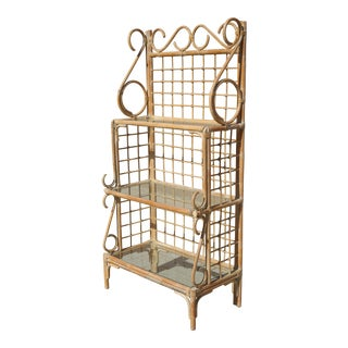Vintage Rattan Baker's Rack or Etagere With Glass Shelves For Sale