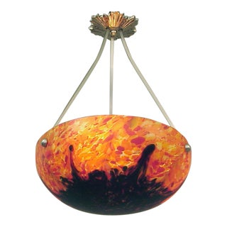"""""""End of Day"""" Czech-Style French Art Deco-Era Pendant Ceiling Light, Blazing Red & Cobalt For Sale"""