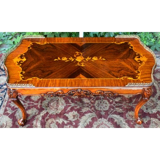 1910s Antique Weiman French Carved Walnut & Satinwood Inlay Coffee Table Preview