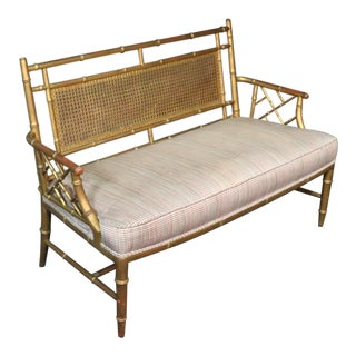 Chinese Chippendale Style Faux Bamboo Bench For Sale