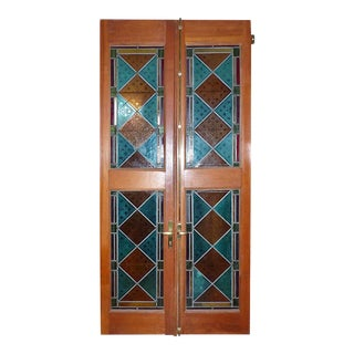 1870's Mahogany Framed Geometric Stained Glass Doors - a Pair For Sale
