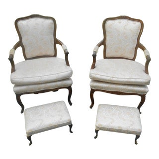 Vintage French Louis XV Style Fireside Arm Chairs & Ottomans - Set of 4