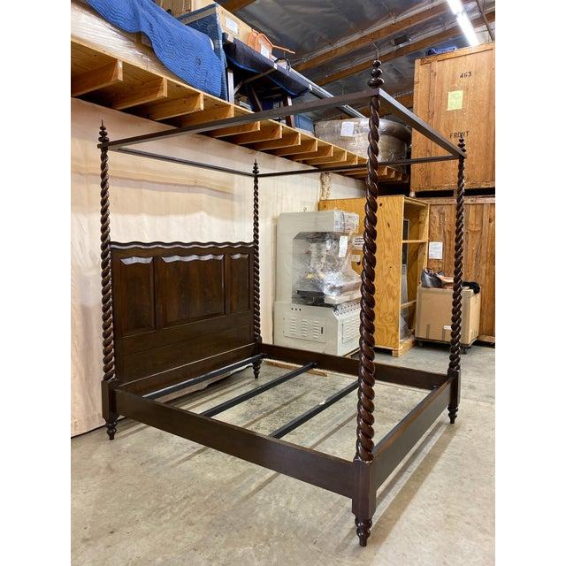 Stunning flame mahogany Dessin Fournier Kerry Joyce barley twist bed, cal king. Original cost $17,000 Boxspring support 12...