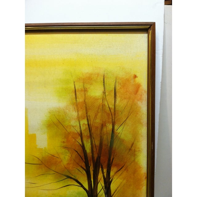 """Impressionist Large """"Trees in the Skyline"""" Framed Painting on Canvas by Thomas For Sale - Image 3 of 6"""