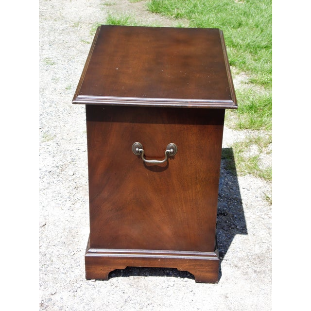 Vintage English Provincial Style Mahogany Banded Chest End Table Night Stand For Sale - Image 9 of 13