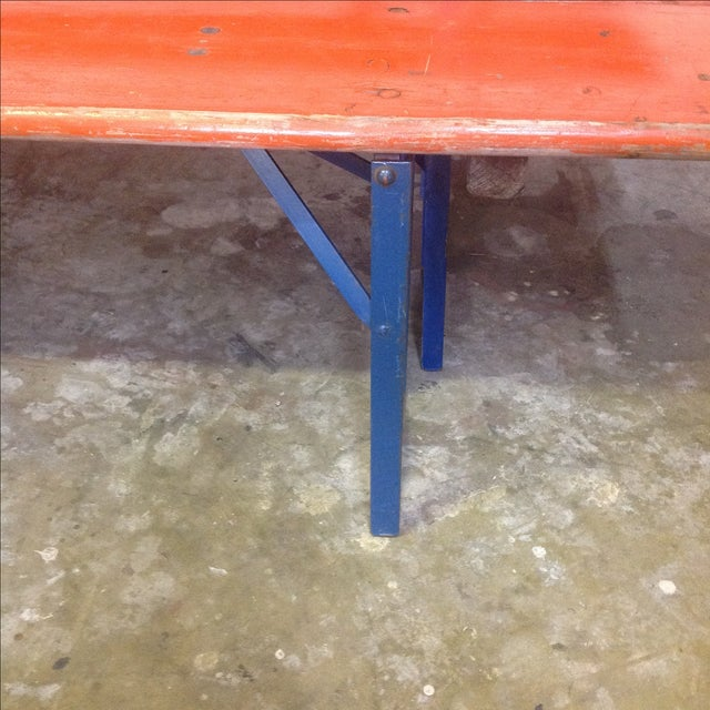 Orange German Beer Garden Table & Benches For Sale In Austin - Image 6 of 8