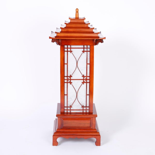 Large Pagoda Table Lamps - A Pair For Sale - Image 4 of 9