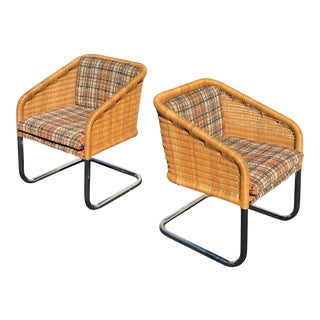 1970s Vintage Wicker and Chrome Cantilever Chairs- A Pair For Sale