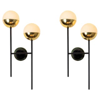 1950s Two-Arm Sconces Attributed to Stilnovo - a Pair For Sale