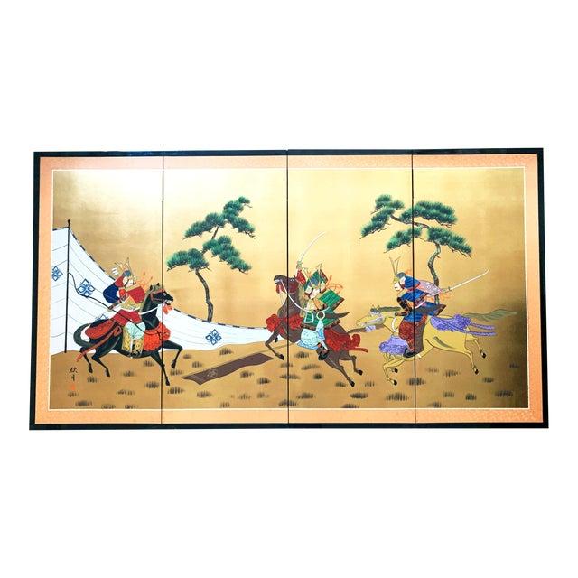 Vintage Japanese Gold-Leaf Byobu 4 Panel Folding Screen with Three Samurai on Horseback and Pines For Sale