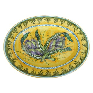 Tuscan Hand-Painted Artichoke Decorative Platter For Sale