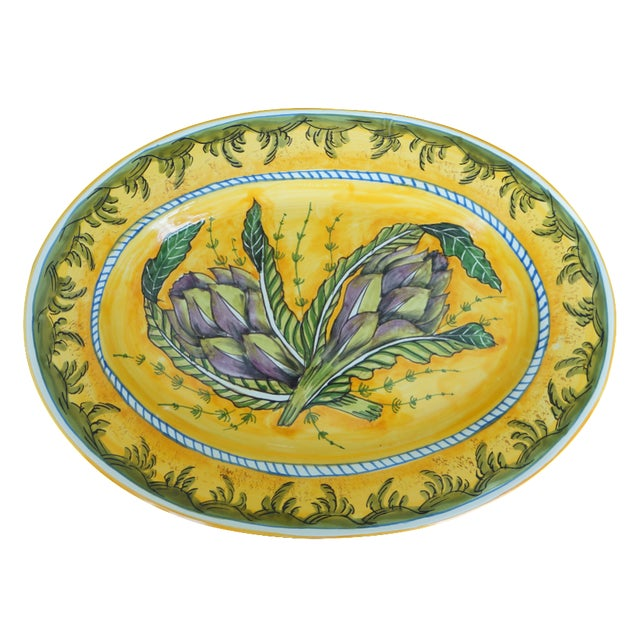 Tuscan Hand-Painted Artichoke Decorative Platter - Image 1 of 3