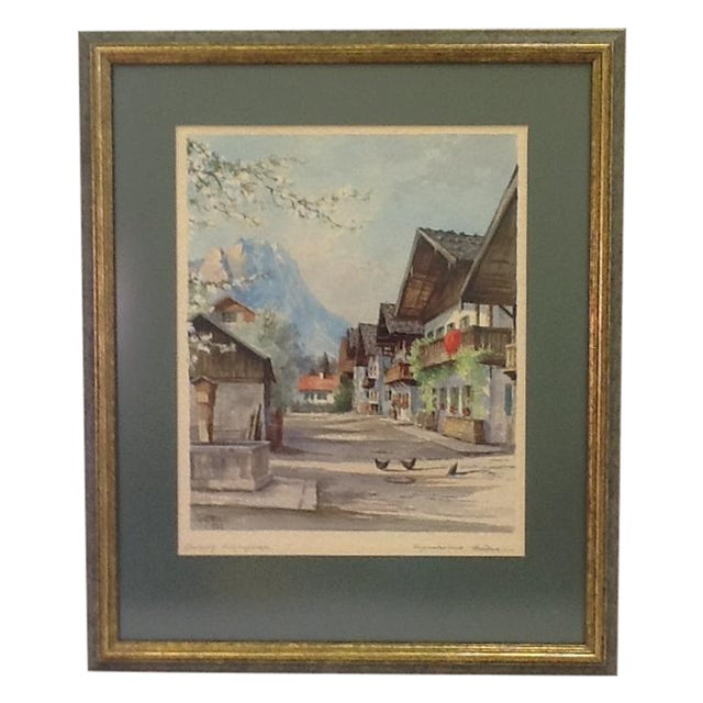 1960s German Village Original Watercolor - Image 1 of 11
