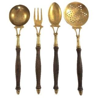 Solid Brass Serving Utensils - Set of 4