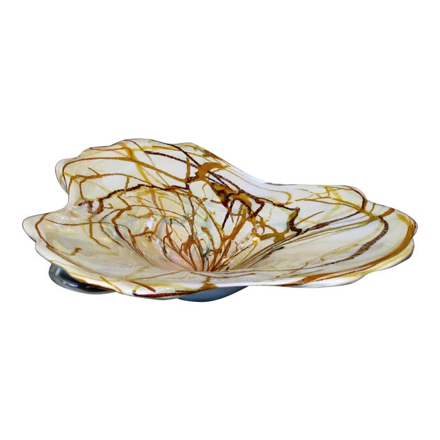 A Large and Impressive Murano 1960's Amorphic-Shaped Bowl With Encased Swirl Decoration For Sale