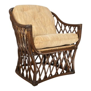 1970s Vintage Henry Olko for Willow and Reed Rattan Barrel Chair For Sale