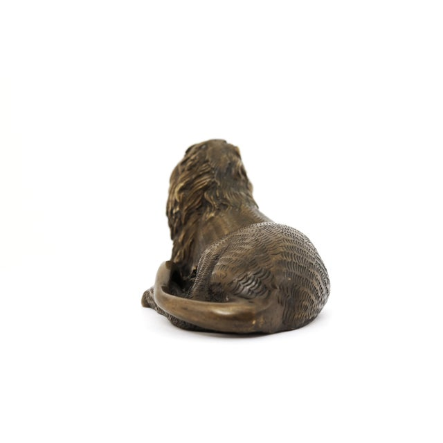 Late 20th Century Vintage Bronze Lion Figurine For Sale - Image 5 of 8